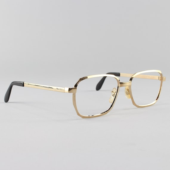 Vintage Eyeglasses | 70s Glasses | Unique Gold Eyeglass Frame | Vintage Deadstock - Hipster Gold