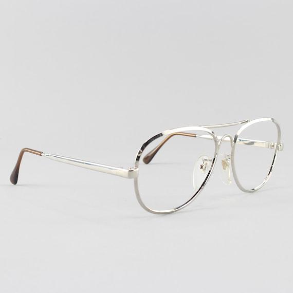 Vintage Eyeglasses | 80s Glasses Frames | 1980s Aesthetic | Silver Aviator - Jailan