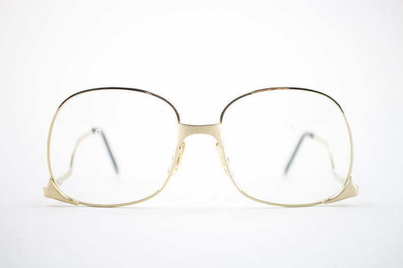 b5eb03e374b37 Vintage 70s Glasses Gold Oversized Eyeglass Frame with Demo