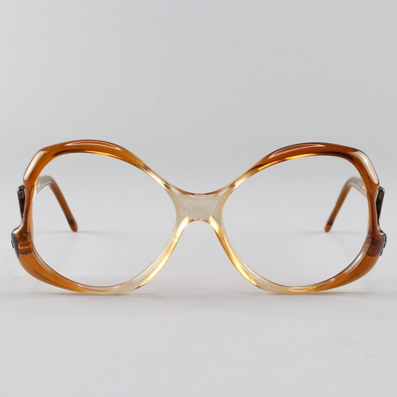 Vintage 80s Glasses | Oversized Round Eyeglasses | 1980s Brown Eyeglasses - Miami Brown Fade