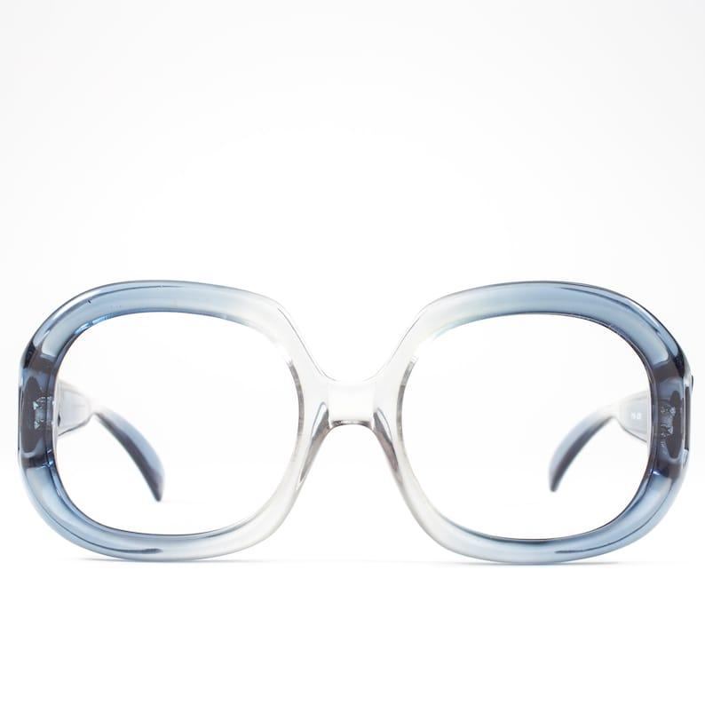 a01fd386e42f Vintage 1970s Eyeglass Frame Clear Blue Oversized 70s