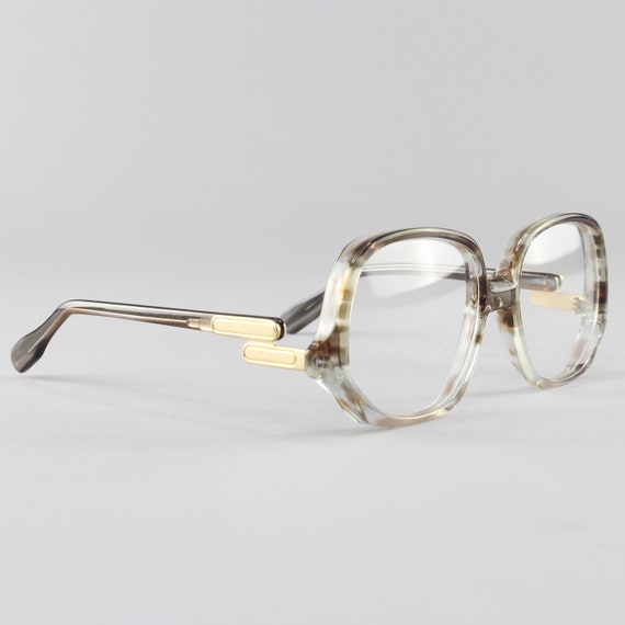 1970s Vintage Eyeglasses | Clear Gray Eyeglass Frame | Round 70s Glasses | Deadstock Eyewear - Colossal Caviar