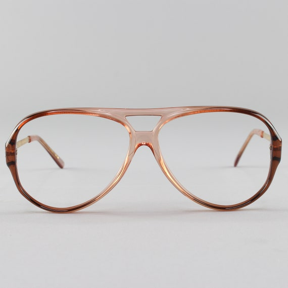 80s Vintage Glasses | Clear Blue Eyeglass Frame | 1980s  Aviator Eyeglasses - January Peach