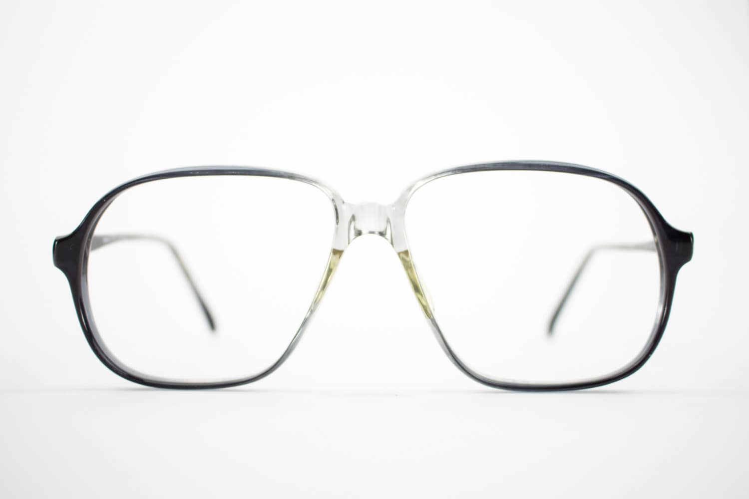 Vintage Eyeglass Frame | Oversized Clear Grey Fade | 80s Aviator ...