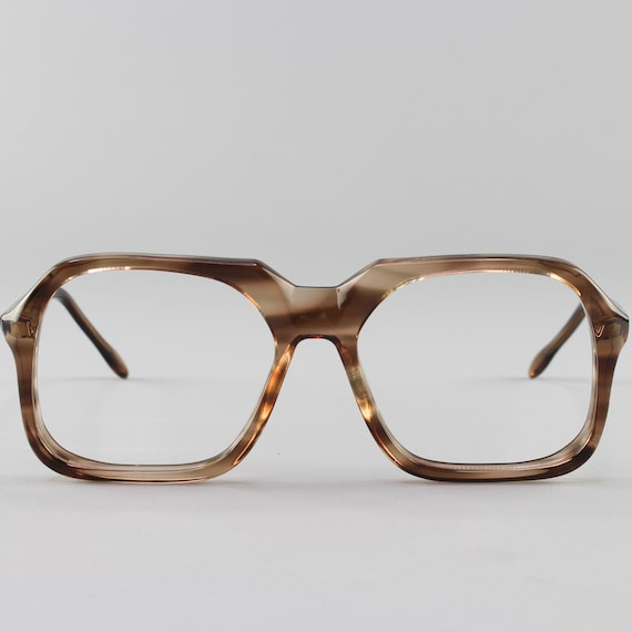 Vintage Eyeglasses | 70s Glasses |  1970s Clear Brown Square Eyeglass Frame | Deadstock Eyewear - Tony 1518