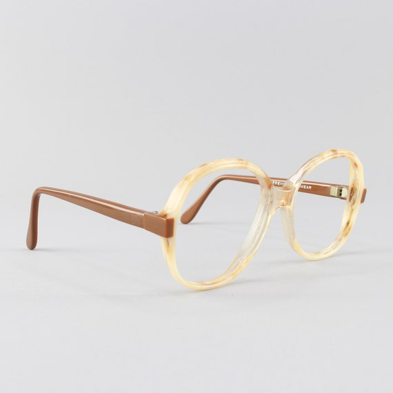 80s Glasses | Brown & Cream Eyeglasses | Oversized Round Eyeglass Frame | 1980s Aesthetic - Dune
