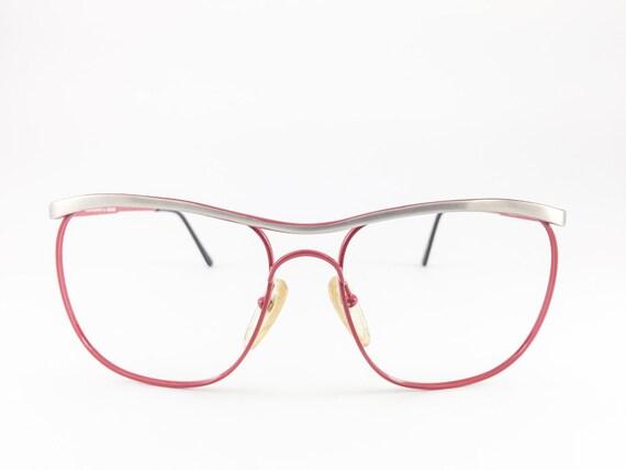 Vintage 80s Glasses | Red Oversized Browline Eyeglass Frame | NOS 1980s Eyeglasses - Centaurion