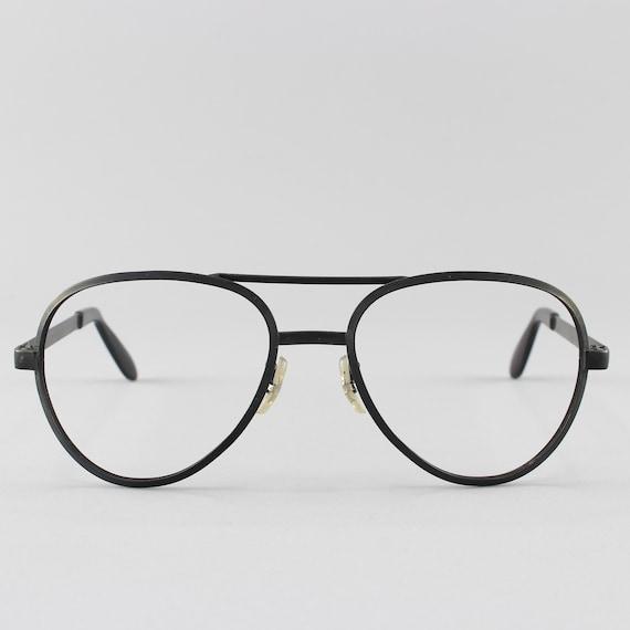 1970s Eyeglass Frame | Vintage Glasses | 70s Eyeglasses | Matte Black Eyeglass Frame - Dash Blk