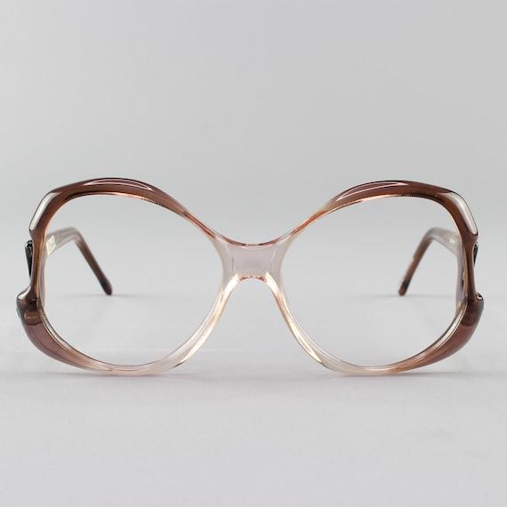 80s Glasses | Vintage Eyeglasses | 1980s Oversized Round Eyeglasses - Miami Grey Pink