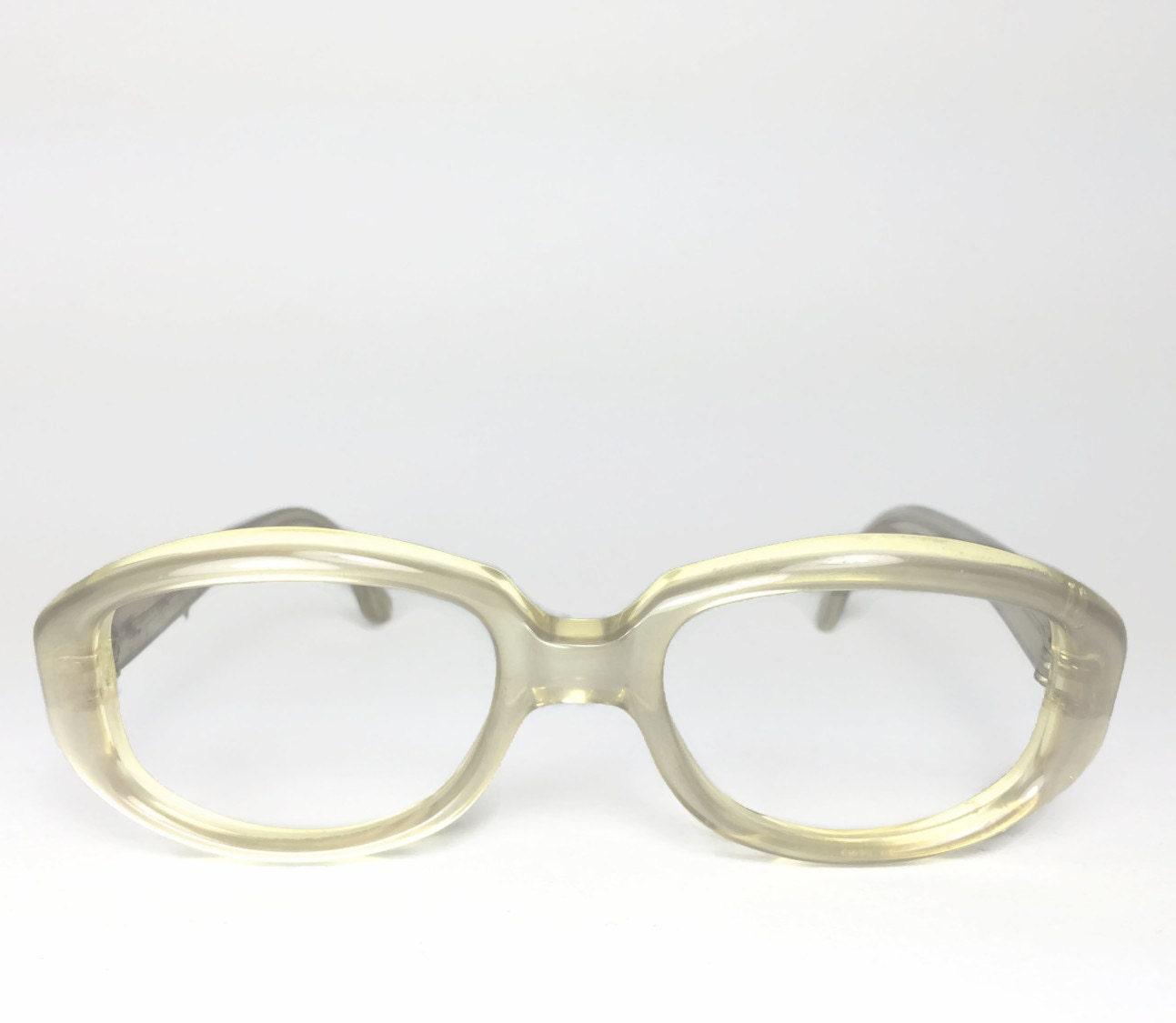 Vintage 60s Eyeglasses   1960s Petite Round Clear Pearl White ...