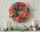 Modern Tinsel Pom Pom Wreath - Rainbow Wreath