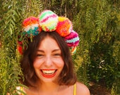 Neon Multicoloured Rainbow Pom Pom Headband, Festival Headband, Pom Pom Headband, Party Headband, Birthday