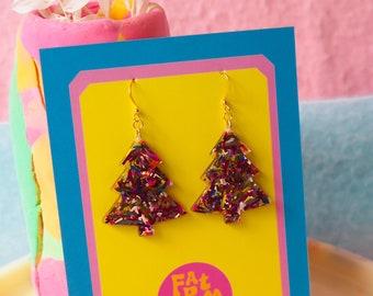 Rainbow Christmas Tree Earrings - Christmas Earrings - Gold or Silver Plated Hardware