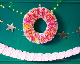 Flecked Pink Wreath - Small or Large - Vegan Friendly -