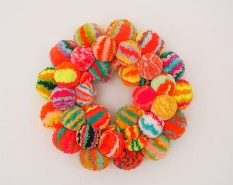 Modern Door Wreath - LARGE - Vegan Friendly - Colourful Pom Pom Wreath