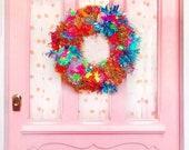 Modern Pom Pom Tinsel Wreath - LARGE