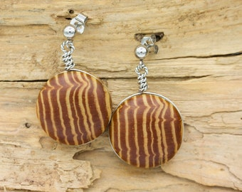 Cabochon Longleaf Heartwood Earrings in Stainless Steel