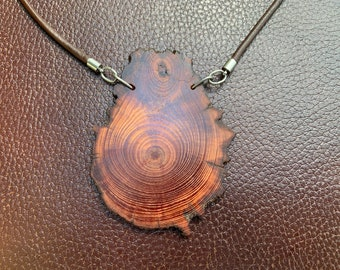 Longleaf Heartwood Amulet on Brown Leather Cord