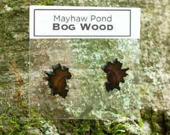 Mayhaw Pond Bog Wood Stainless Steel Stud Earrings