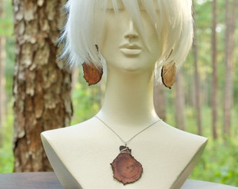 Wire Wrapped Longleaf Heartwood Earrings and Necklace Set, Stainless Steel Findings