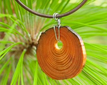 Live Edge Heartwood Wire Wrapped Ring Pendant with Leather Cord