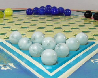 Chinese and Regular Checkers: Vintage Ohio Art two sided metal game, complete