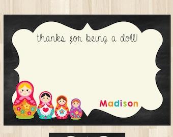Russian Doll Thank You Card, Nesting Doll Thank You Card, Matryoshka Thank You, Babushka Doll, Doll Birthday Thank You Card