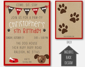 Puppy Party, Puppy Birthday Invitation, Puppy Party Invitation, Dog Birthday Theme, Puppy Themed Party