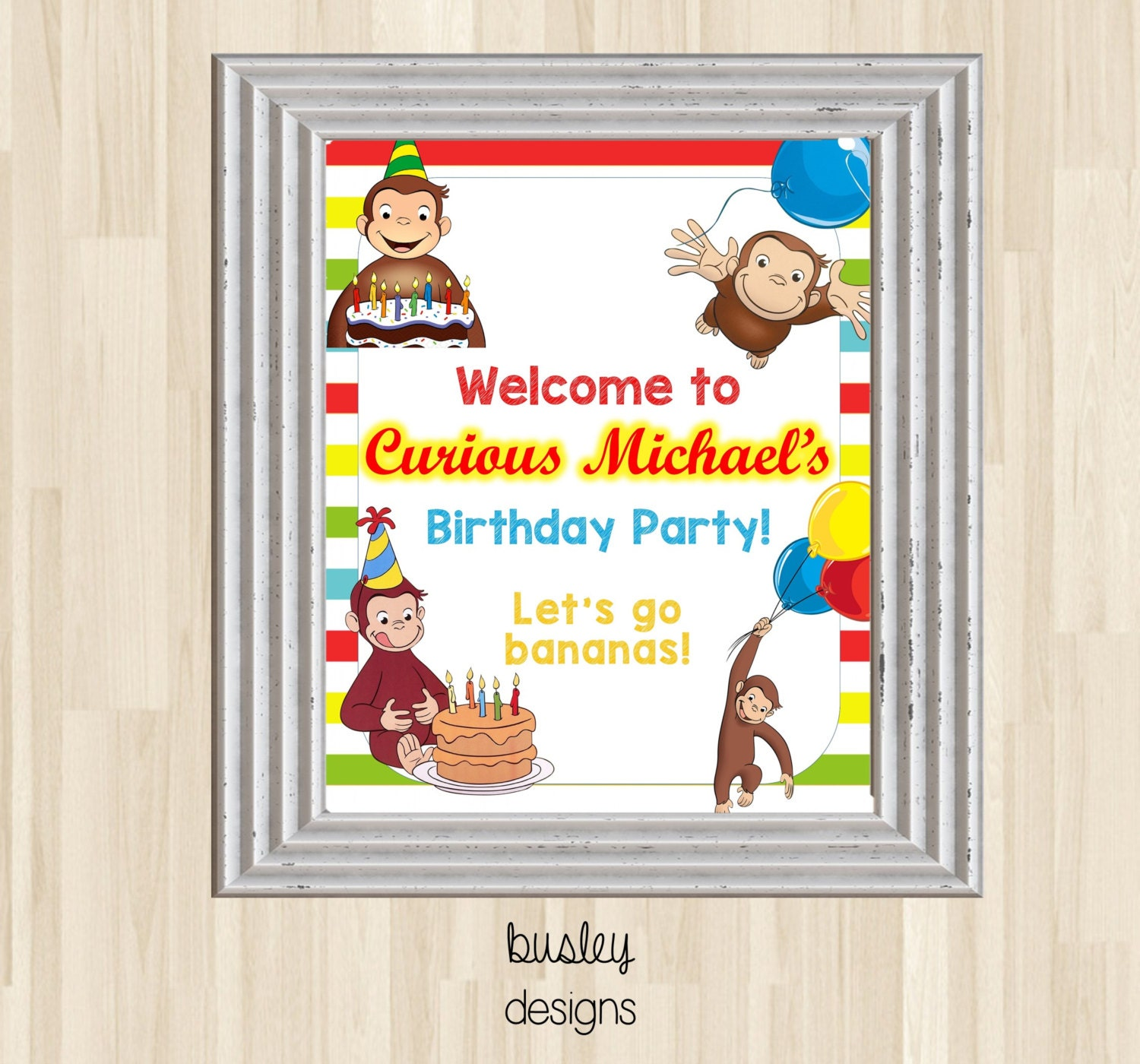 Curious George Birthday Poster Curious George Welcome Sign | Etsy