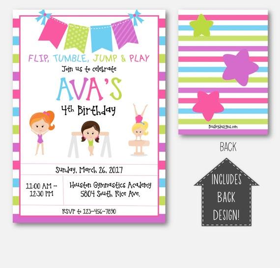 Gymnastics birthday invitation gymnastics party invitations etsy stopboris Images