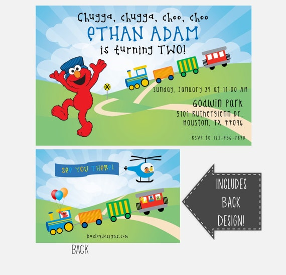 Elmo Birthday Invitation Train Second