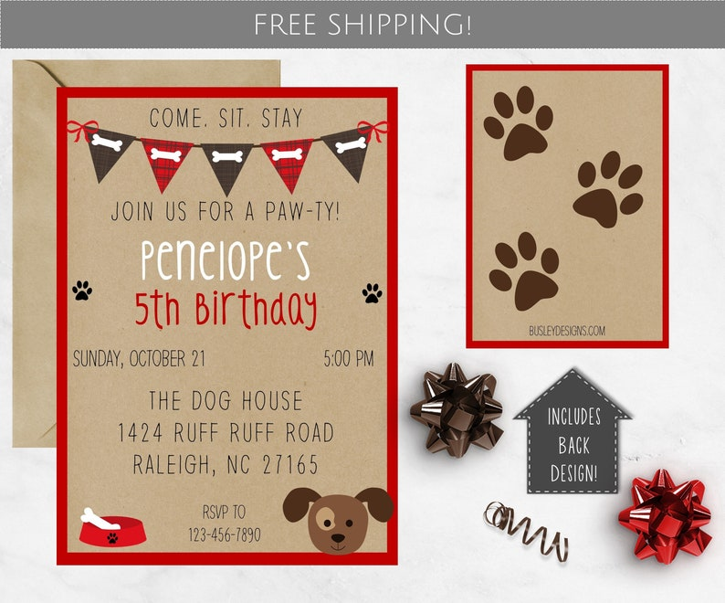 Puppy Party Birthday Invitation