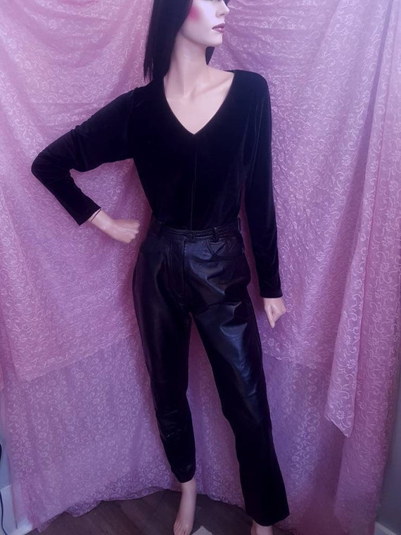 80s Black High Waist Leather Panel Straight Leg Pa
