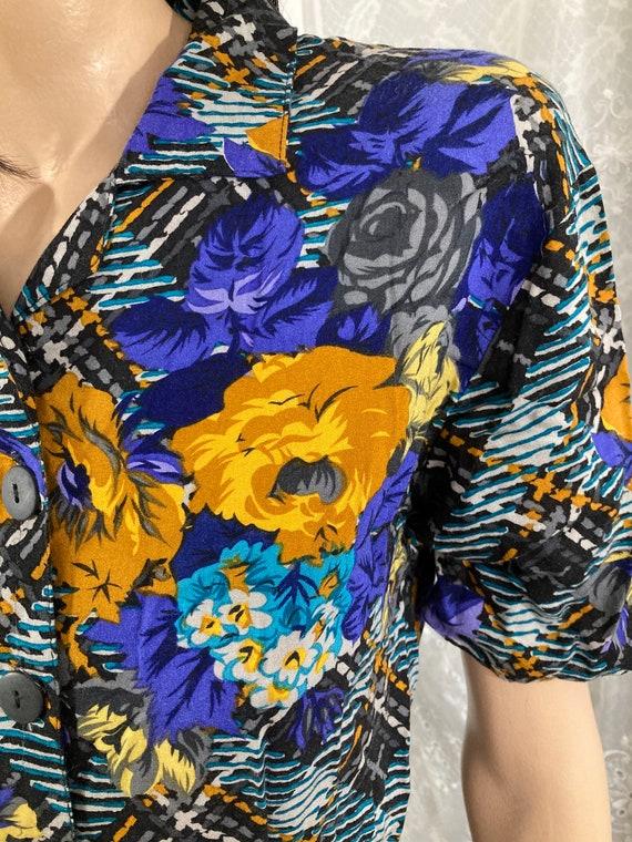 80s Gold & Sapphire Rose Plaid Print Playsuit - image 6