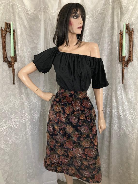70's Floral High Waisted Velour Skirt