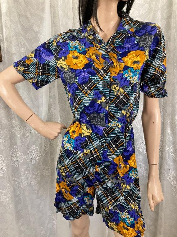 80s Gold & Sapphire Rose Plaid Print Playsuit - image 2