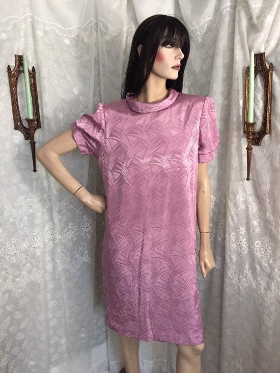 80s Art Deco Print Round Collar Mini Shift Dress