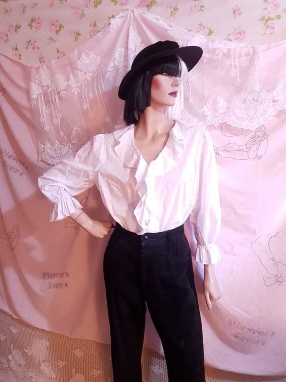 Ralph Lauren Ruffle White Cotton Long Sleeve Cuff
