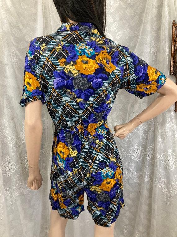 80s Gold & Sapphire Rose Plaid Print Playsuit - image 7