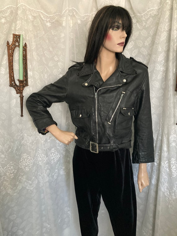 80's Black Leather Motorcycle Jacket