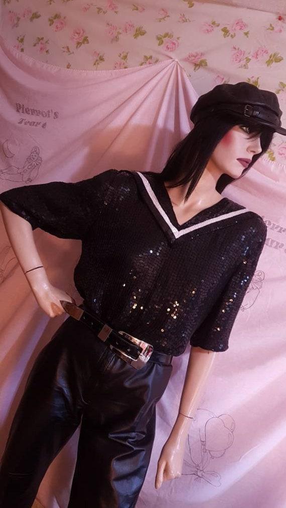 Black Sequin Sailor Collar Blouse 80s