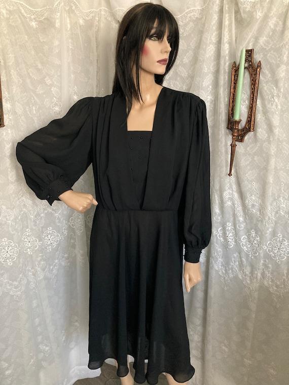 80's Black Sheer Beaded Ruffle Blouse Dress