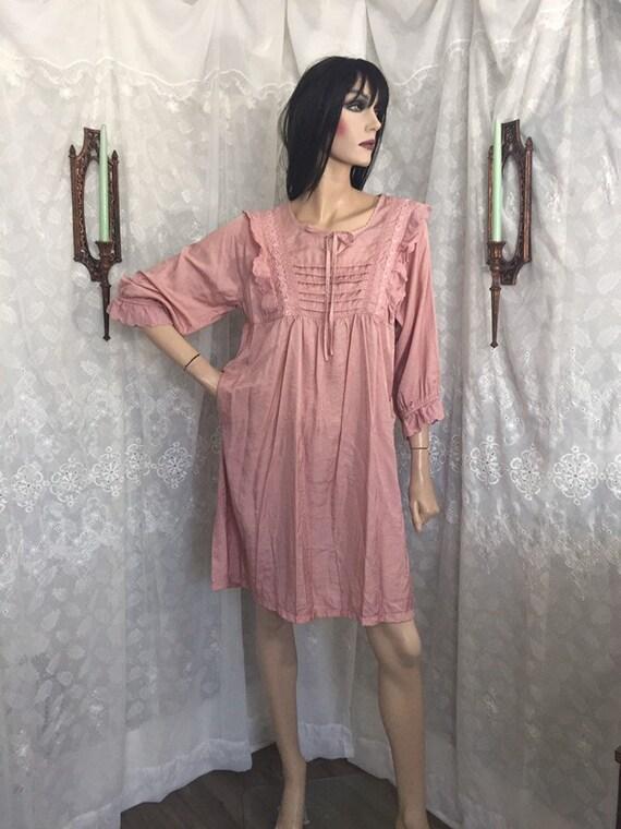 Dusty Rose Lace Ruffle Babydoll  Dress