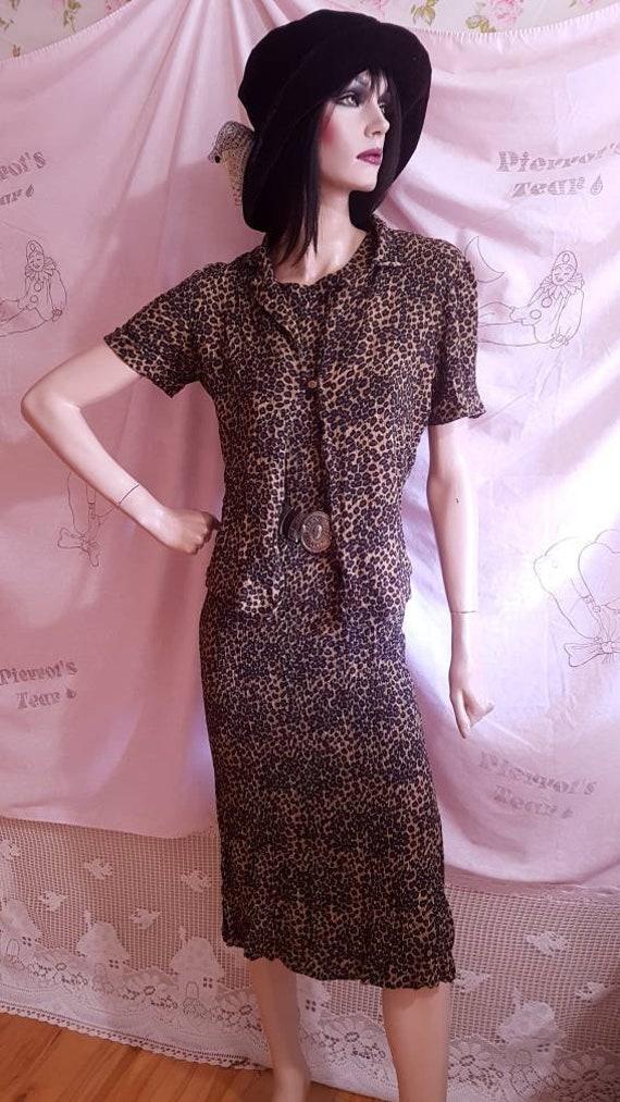 90s Leopard Print Sleeveless Maxi Dress & T-Shirt