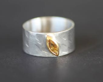 Citrine wide band/Sterling Silver ring white-gold plated/Gold 14k ring/Silver & Gold ring/Women's handmade ring/Woman's hammered wide ring