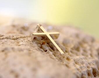 Man's handmade Cross/White Gold Cross/Men's Cross Pendant/Man's Pendant/14K Solid Gold Cross/Man's Gold Necklace/Men's Handmade Cross