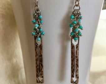 Boho earrings, turquoise earrings, dangle earrings, hippie earrings