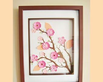 Cherry Blossom Art Framed - Handmade Paper Flowers | Paper Flowers | Cherry Blossoms | Cherry Blossom Art | Gifts for her | Home Decor