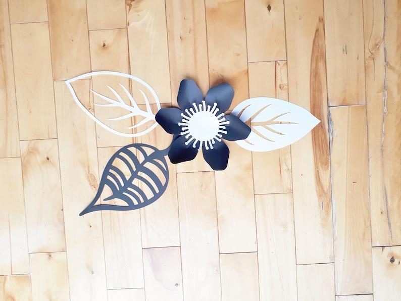 Anemones White and Black Paper Flower Mini