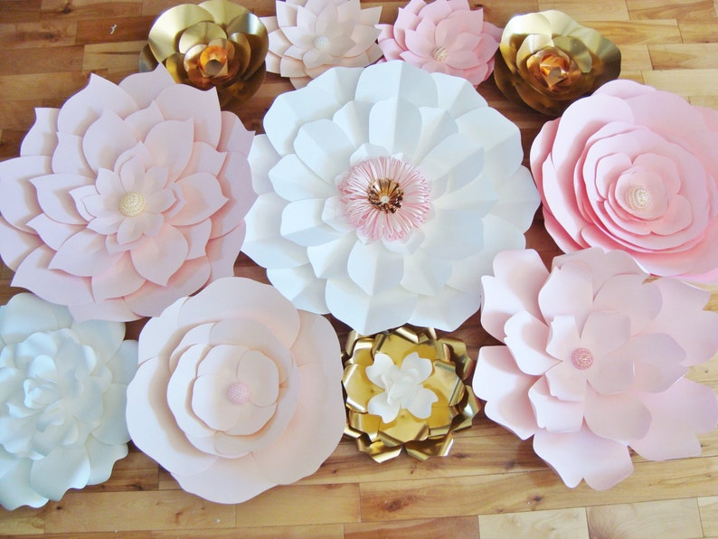 Wedding Backdrop Pink White And Gold Flower Wall Set Of 35